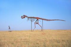 金属雕塑恐龙 库存图片
