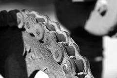 金属齿轮和链子 库存图片