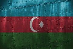 金属texutre或bacground与阿塞拜疆旗子 图库摄影