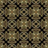 金巴洛克式的无缝的样式 葡萄酒传染媒介锦缎背景 向量例证