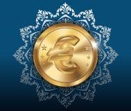 金币和样式背景,与欧元的金币 向量例证
