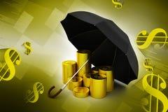 金币在一把黑伞下 免版税库存图片