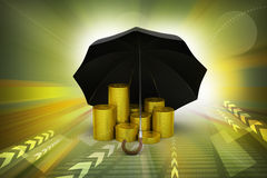 金币在一把黑伞下 库存图片