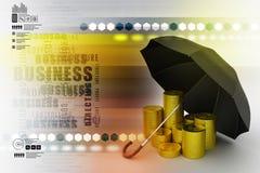 金币在一把黑伞下 免版税图库摄影