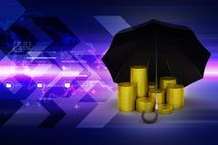 金币在一把黑伞下 库存照片