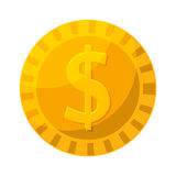 金币在动画片样式的传染媒介例证 库存例证