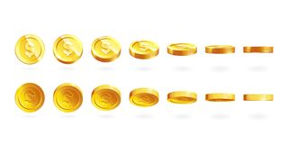 金币在白色设置了被隔绝用不同的位置 免版税库存图片