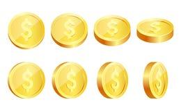 金币在白色设置了被隔绝用不同的位置 皇族释放例证