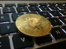 金币bitcoin硬币的特写镜头 库存照片