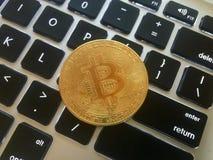 金币bitcoin硬币的特写镜头 库存图片