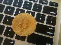 金币bitcoin硬币的特写镜头 免版税库存图片