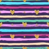 金心脏无缝的样式、手拉的五颜六色的条纹刷子和墨水 皇族释放例证