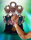 金拿着金牌的杯子冠军和手 免版税库存照片