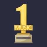 金摇滚明星战利品音乐最佳的娱乐胜利成就谱号和合理的发光的金黄曲调