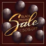 金文本黑色与气球的星期五销售在黑背景 免版税库存照片