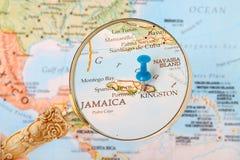 金斯敦,牙买加地图 免版税库存图片