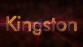 金斯敦-发光的使成环的城市名字在牙买加,文本动画 库存例证
