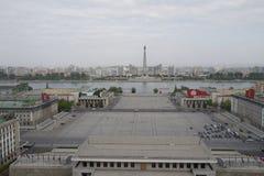 金日成Juche想法的广场和塔,平壤 图库摄影