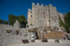 金星中世纪城堡在埃里切,西西里岛,意大利 库存图片