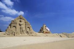 金星和丘比特沙子雕塑  库存照片