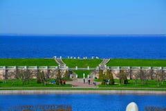 金星庭院, Marlinsky池塘和芬兰湾看法在Peterhof,圣彼德堡,俄罗斯 免版税库存图片