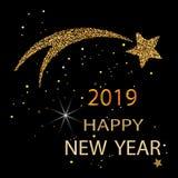 金星形 新年好 金子闪烁2019年 陨石和彗星象  向量 库存照片
