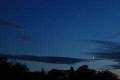 金星木星月亮契合 免版税图库摄影
