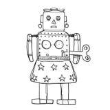 金星机器人RetroTin玩具手拉的逗人喜爱的线艺术例证 库存图片