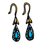 金有蓝色或绿松石宝石下落形状的首饰耳环 隔绝在一部白色背景乱画动画片 免版税图库摄影