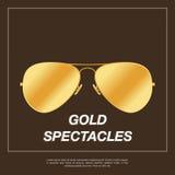 金有金框架的飞行员太阳镜 库存图片