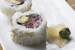 金枪鱼与山葵的寿司卷 免版税库存照片