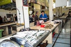 金枪鱼在鱼市、梅尔卡多dos Lavradores或工作者的市场上 库存图片