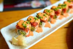 金枪鱼寿司用调味汁 免版税库存图片