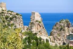 金枪鱼斯科佩洛-西西里岛的海岸 库存照片