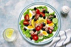 金枪鱼色拉用西红柿、黄瓜、黑橄榄和煮沸 免版税库存照片