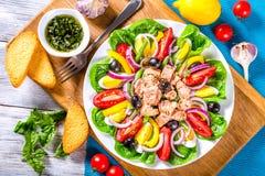金枪鱼色拉用鲥鱼,鸡蛋,黑橄榄,蕃茄,油,蓬蒿,大蒜,醋 库存照片