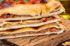 金枪鱼饼 典型的加利西亚盘加利西亚和西班牙 自然成份例如蕃茄,葱,胡椒,茄子,金枪鱼, boile 免版税库存照片