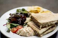 金枪鱼panini服务用沙拉和油炸马铃薯片 免版税库存图片