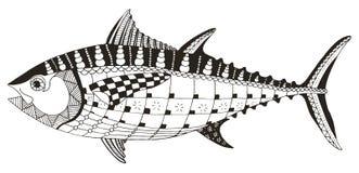 金枪鱼zentangle传统化了,导航,例证,徒手画的笔 库存照片
