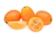 金桔,在白色背景隔绝的cumquat果子 免版税库存照片