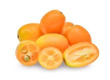 金桔,在白色隔绝的cumquat果子 图库摄影