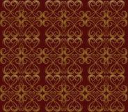 金模式红色漩涡 免版税库存图片