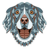 金毛猎犬狗zentangle传统化了顶头,徒手画的铅笔, h 免版税图库摄影