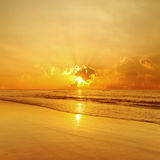 金海滩和海运日落 库存照片