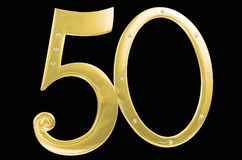 金照片框架生日50周年隔离黑色背景 被镀金的框架被镶嵌的石头 免版税库存照片