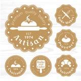 金牌商标面包店标签传染媒介 向量例证