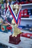 金牌,发光的战利品杯子 免版税库存照片
