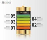 金电池 Infographics概念 设计现代模板 向量 免版税库存照片