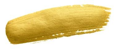 金画笔污迹冲程 在白色背景的丙烯酸酯的金黄颜色污点 抽象金子闪烁的织地不很细光滑的illustrati 免版税库存图片