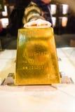 金砖在Jioufen金矿博物馆 免版税库存图片